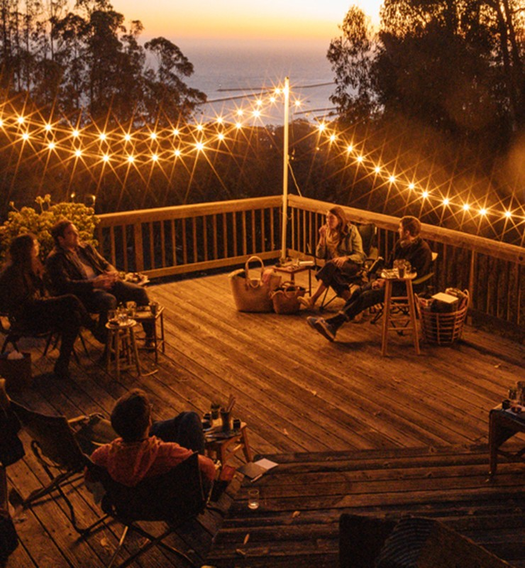 Backyard deck with people